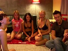 Collage  naughty girls playing strip poker