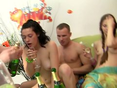 Horny college girls are fucking in a dorm in a gonzo group sex