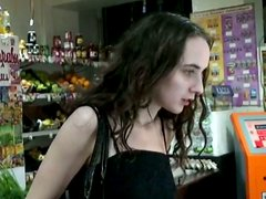 Drunk amateur cutie sucks a dick right in the shop