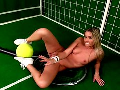 Wonderful and hot tennis player masturbates right on the court