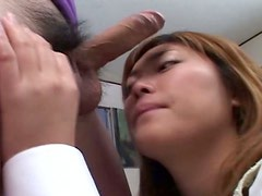 Sexy and beautiful Japanese girl You Kawamura is sucking a hard dick intensively