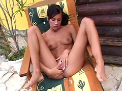 Skinny girl fingers and strips outdoors