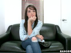 Lovely brunette with pretty face gets fucked on a sofa