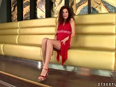 Leanna Sweet the curly brunette toys herself with a bottle