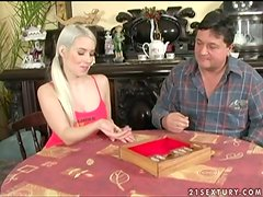Pretty blonde with pigtails gets fucked after doing homework