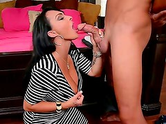 Horny milf Holly Halston is luring young Pike Nelson with her seductive smile and skillful blowjob