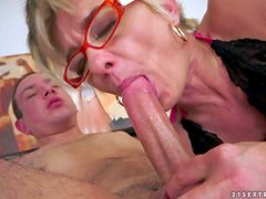 Cock hungry mature short haired blonde whore with slim body