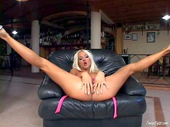 Attractive horny blonde bimbo Veronica Symon with big jugs and