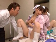 Japanese Cleaning Lady Gets Fingered In The Bathroom