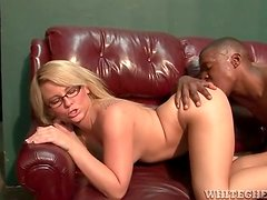 Big ass chick in glasses gets on a hard dick