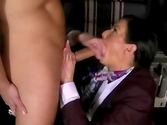 CFNM milfs blow their studs in foursome on their plane