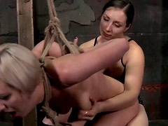 Bondage - Short haired blondie Cherry Torn gets tied up and drilled with a dildo