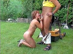 Ugly old bitch Sibylle Malenka gets fucked doggy by her gardener