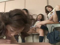 Sexy college chicks masturbate and watch their girlfriend fuck