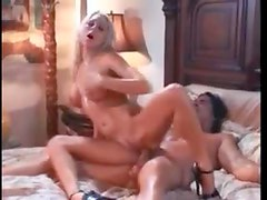 Blonde sits on the shaft and he cums on her