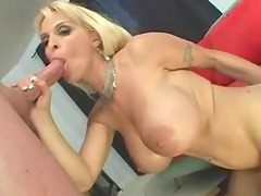 Shaved blonde milf with big tits nailed