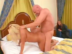Husband watches his trophy wife fuck another man