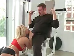 Blonde in gym fucked by a buddy