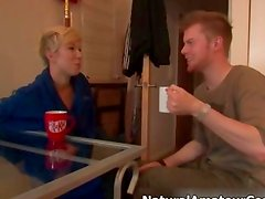 Dirty blonde girl gets horny talking