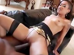 Ebony babe sucks a BBC and welcomes it in her amazing holes