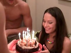 Russian amazing sluts turn a boring B'day party into a splendid group fuck