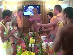 Voluptuous hot nymphos transform a Hawaii party into a group sex