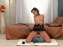 Sex hungry brunette milf rides a saddle with her beaver