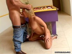 Sasha loves getting naked with two dudes in her place