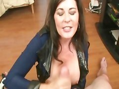 Tit flashing MILF wanks cock