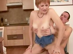 Mature GILF amateur pounded on table