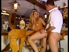 German babe in heels bar fuck