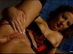 Lingerie hottie banged by a big cock