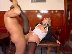 Grandma in black stockings fucked hard