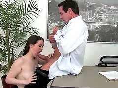 Peter North gets a hot blowjob and balls sucking from his new busty secretary Tessa Lane
