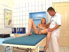Cute blonde Camila aka Erica enjoys in getting yet another examination by her turned on doc