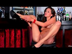 Solo masturbating girl in lipstick and heels