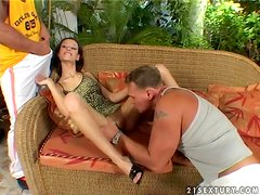 Tanja Teen the slutty brunette babe gets threesomed