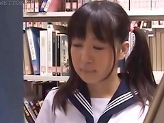 Teen asian girl submitted to sexual teasing in library