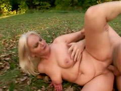 Grandma in grass and leaves fucked lustily