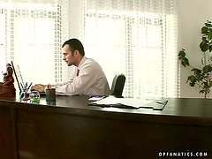 Sexy office manager sucks and fucks her bosses