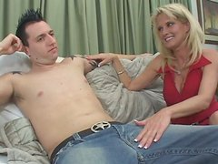 Cougar blonde Bridgett Lee seduces young stud and blows his dick