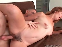 Hairy mom box sits on his dick and rides