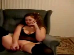 Weird chubby brunette plays with a dildo and gonna please her quim at once