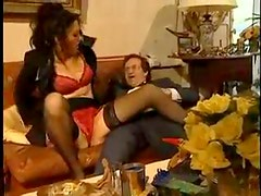The lady in lace takes his hard boner