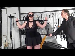 BBW in bondage gets flogged on her fat ass