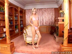 Bunny the sexy blonde toys her pussy as deep as possible