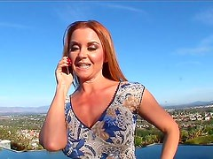 Hot and arousing pale redhead momma with nice curvy body Janet Mason enjoys in talking on