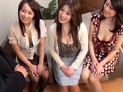 Three Japanese milfs play with some clothed guy's hard prick