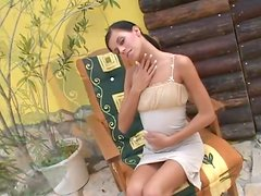 Tight body girl strips from slinky dress outdoors