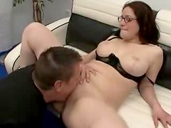 Girl in glasses does some wild things to that huge cock